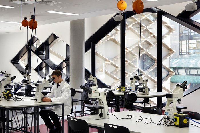 The pattern is recognisable from any interior space – here in one of the laboratories.