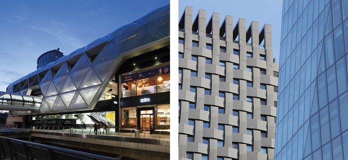 Left: Facades for Foster + Partners' Canary Wharf Crossrail development in London.  Right: Basket weave cladding for  the Triton building at NEQ  Regent's Place, London,  designed by Tate Hindle.