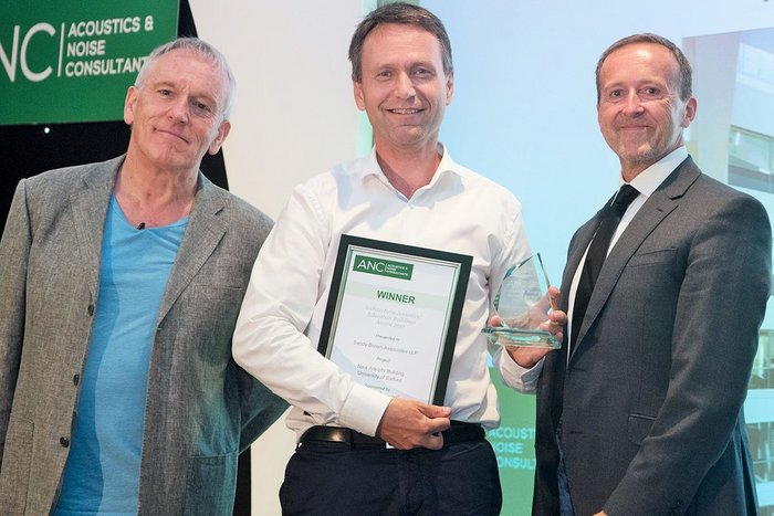 Architectural Acoustics - Education Buildings: Sandy Brown Associates. Awards guest speaker James Woudhuysen with Stephen Stringer of Sandy Brown Associates and Shane Cryer of Ecophon