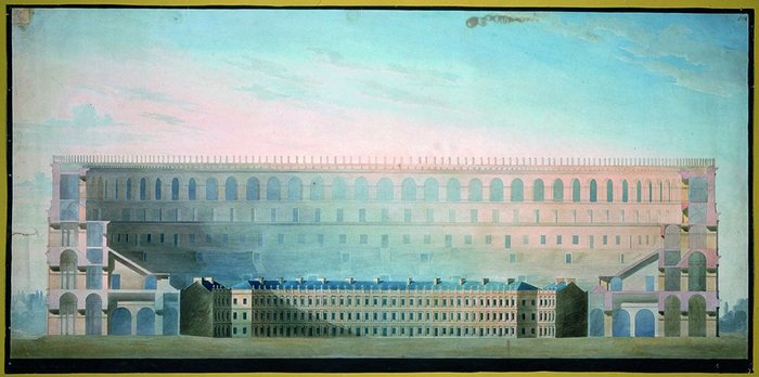 A comparison of the Colosseum, Rome, and the Circus at Bath, from Soane's office.