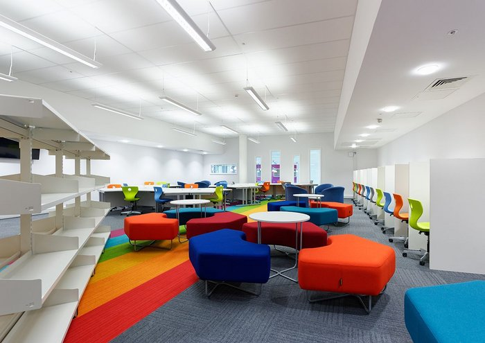 Flexible learning space at Ysgol Bae Baglan with child-centred furniture and bright colours