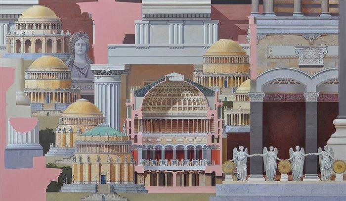 Laubin depicts von Klenze – Befreiungshalle, 110x190cm, oil on canvas  (capriccio inspired by Leo von Klenze).