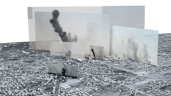 The Image-Complex Rafah: Black Friday, Forensic Architecture, 2015. Commissioned by Amnesty International, Forensic Architecture located photographs and videos within a 3D model to tell the story of one of the heaviest days of bombardment in the 2014 Israel-Gaza war.