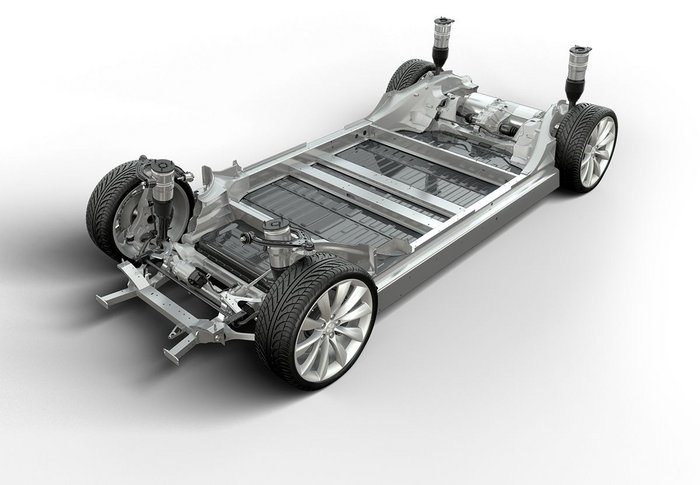 Tesla's current technology has its batteries arranged to form part of the chassis floor of its cars. This same compact technology is now intended to be rolled out for the home battery.
