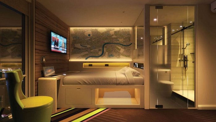 Visualisation of a capsule room in Premier Inns' new Hub hotel, soon to complete in London's trendy St Martin's Lane.