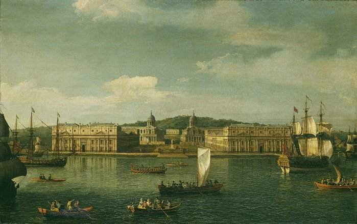 The foundations of a city: A View of Greenwich from the River, in which the craft have changed more than the built form.
