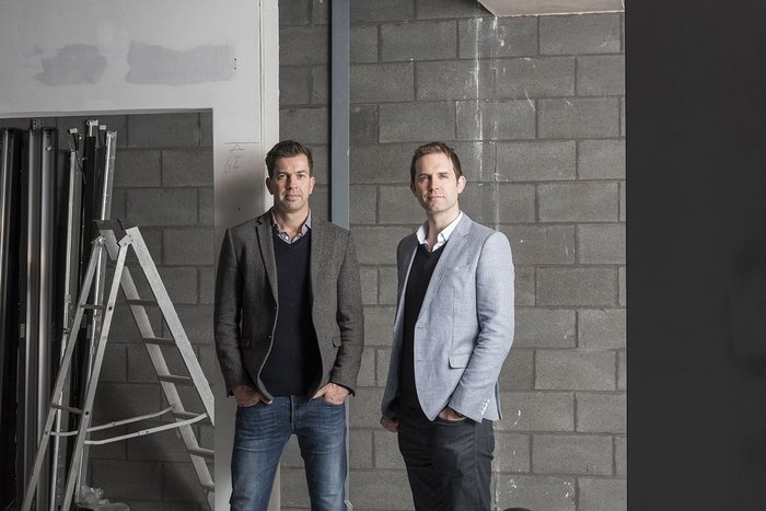 Andrew Edmunds (left) and Nick Moss, directors of Sixtwo Architects, inside Stubbs Mills.