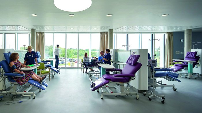 The Manser Practice's Macmillan Cancer Centre in Chesterfield brings the outside in with floor to ceiling glazing in its treatment rooms.