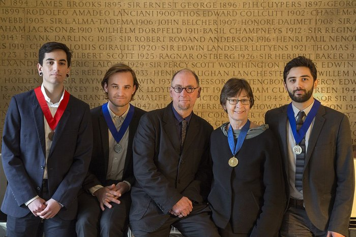 2015 Medalists: from left, Simon Dean, Jasper Ludewig, John Tuomey, Sheila O'Donnell, Nick Elias.