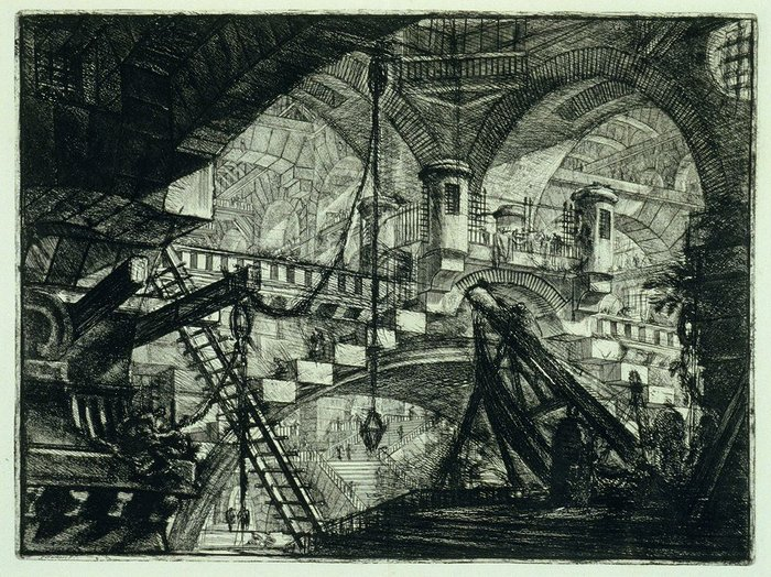 Piranesi's etchings are more pessimistic than Jane and Louise Wilson's Atomgrad series (below) showing the deserted town of Chernobyl.