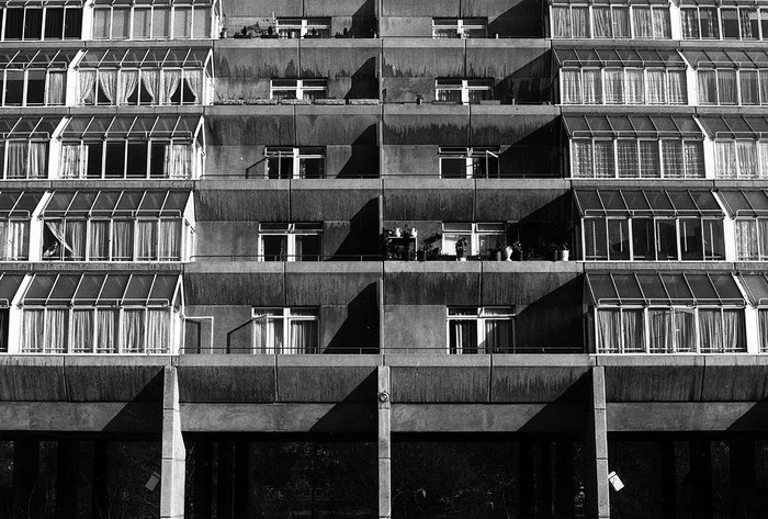 The Brunswick Centre, London: close up of the tiered flats from the square, Patrick Hodgkinson 1967-72.