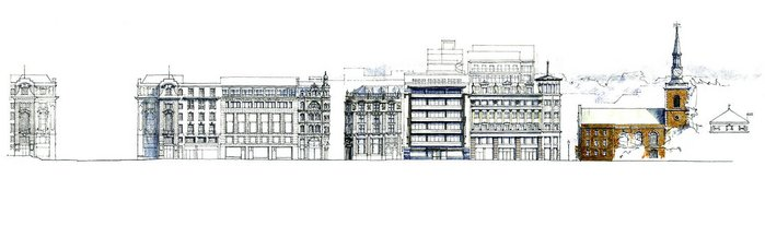 Piccadilly from Regent's Street to St James's Church. The Parry project, St James's Gateway, encompasses the whole of the first block. To the west (right) are Waterhouse's bank, Emberton's Simpsons and a more recent project from Robert Adam Architects.