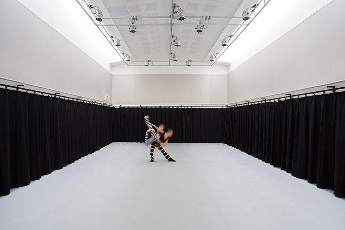 Dance studios are intimate and naturally-lit. Well heated, they are ventilated by the rooflights above. Acoustic plasterboard and drapes over the mirrors increase performance