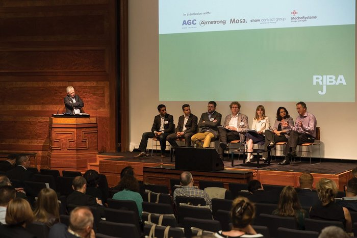 Speakers, from left: Rab Bennetts (chair), Nitesh Magdani, John Davies,  Dr Mike Pitts, Michael Braungart,  Lydia Hopton, Ankita Dwivedi and  Jeremy Sumeray.