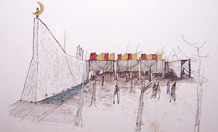 Glenn Murcutt's sketch of Australian Islamic Centre