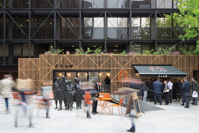 Pop-up culinary units, such as this one at London's Broadgate, are popular with local workers in commercial zones.