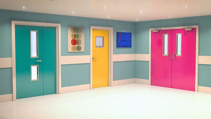 Trovex Hygidoors in leaf-and-a-half, single and double doorset configurations