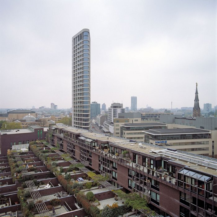 The 2002 Medina housing complex in Eindhoven, The Netherlands. Neave Brown's final built project continued to develop his complex sectional ideas.