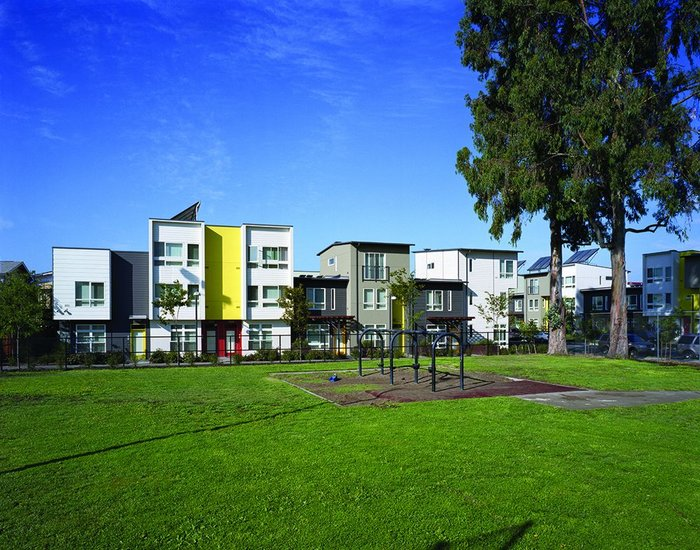 Tassafaronga townhouses in Oakland (with David Baker Architects) include affordable housing, green pathways, pocket parks, and open spaces. Homes are certified to LEED Platinum standard.