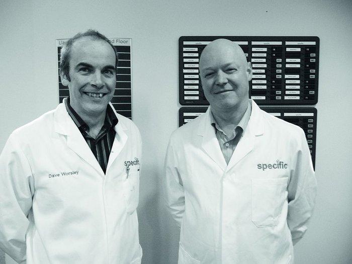 Specific research director and  Swansea University professor of engineering David Worsley (left), and Specific industry director, TATA Steel's Paul Jones.