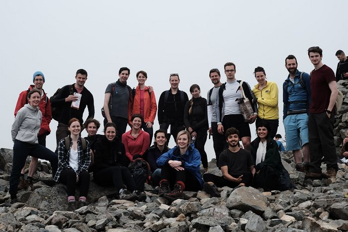 Staff members of Haworth Tompkins on a trip to the Lake District. Photo: Fred Howarth.