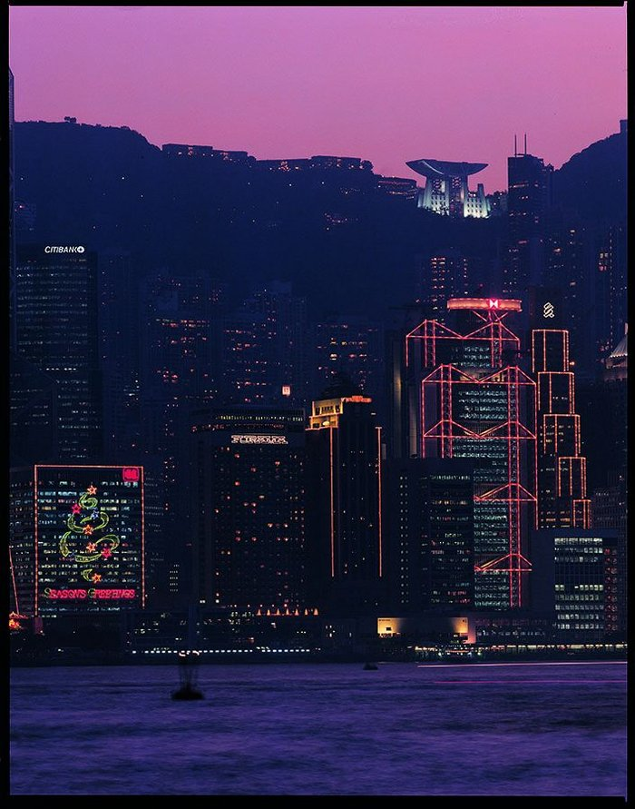 Brits in Hong Kong: Foster's HSBC headquarters, 1979-86 (foreground), is overlooked by Farrell's Peak Tower, 1991-95.