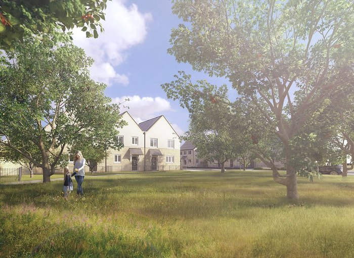 Exterior CGI of orchard and housing at Elmsbrook by Fabrica.