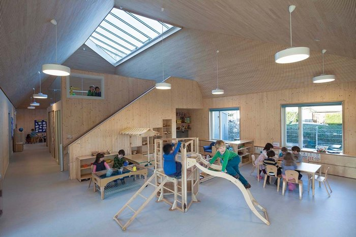 The children's spaces are filled with light, and have easy access to the outside.