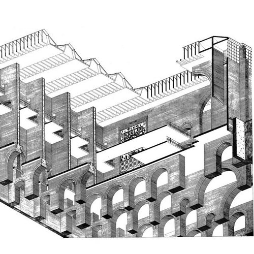 Chapter Material, Severiano Mário Porto, Top view: roof truss, rafter distribution, Balbina Environmental Assurance Center, Manaus, Amazonia, Brazil, 1985 © Federal University of Rio de Janeiro Architecture and Urbanism College Research and Documentation Center  Paper format: 86.5 x 61.5 cm Drawing technique: Pencil on tracing paper Scale: 1:100	 Plan contents: Top view: roof truss, rafter distribution Date: December 1985 Object: Balbina Environmental Assurance Center Location: Manaus, Amazonia, Brazil Time of construction: 1985