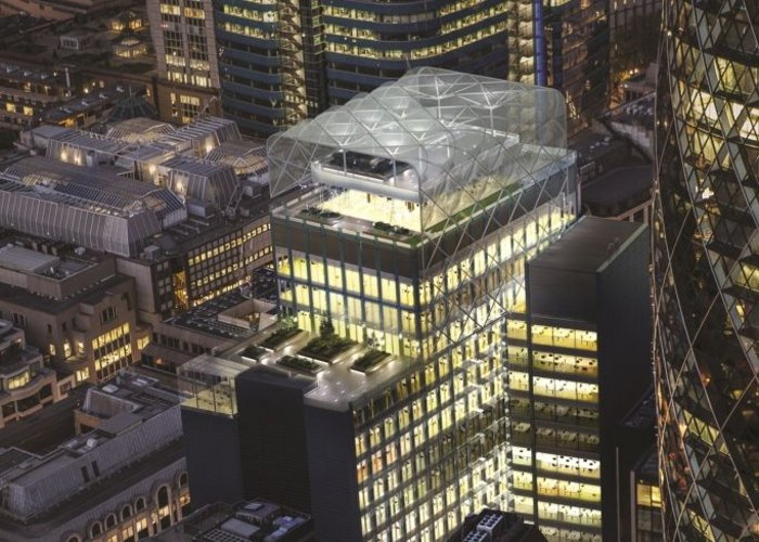 6 Bevis Marks is topped with a spectacular canopy over a sky garden with views over the City of London and beyond.
