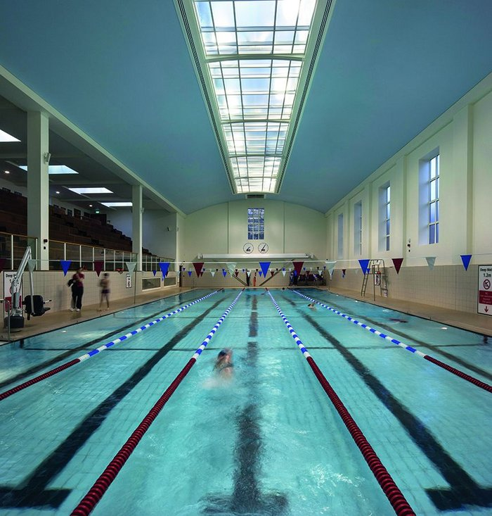 Retained and upgraded, the main swimming pool hall needed keyhole-surgery structural work.