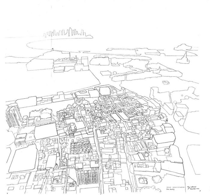 Tim Makower's sketch of Old Doha.