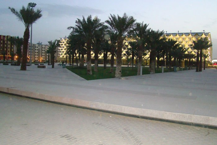 One of Riyadh's rare public spaces in front of The King Fahad National Library, completed in November 2013.