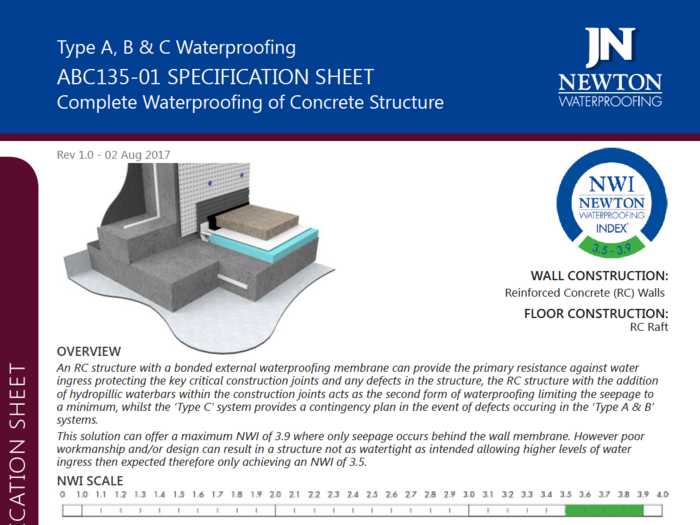 Specification sheets such as this one act as a complete resource for each waterproofing design. The index score also indicates the effectiveness of the design.