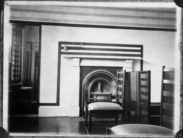 The bedroom designed by Charles Rennie Mackintosh in situ in Bath before it became part of the V&A's collections.