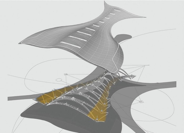 The 3D model of the central processor roof form shows its large span welded steel mega-arches, with smaller steels springing up to support the perimeter cantilevers, which act as solar shading to the glazed facade.