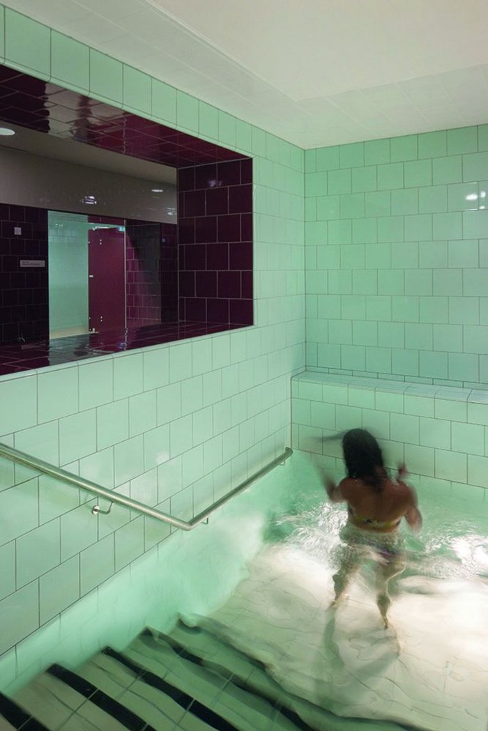 Part of the new spa in the basement incorporates this plunge pool from the existing Turkish baths.