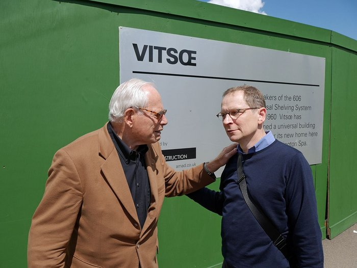 The great Dieter Rams (left) and Mark Adams, MD of Vitsoe, bond on site.