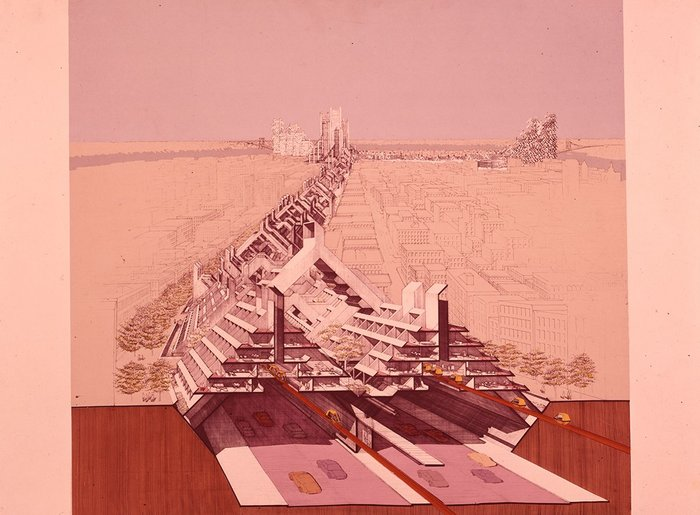 Lower Manhattan Express Way, 1967 design study by Paul Rudolph commissioned by the Ford Foundation.