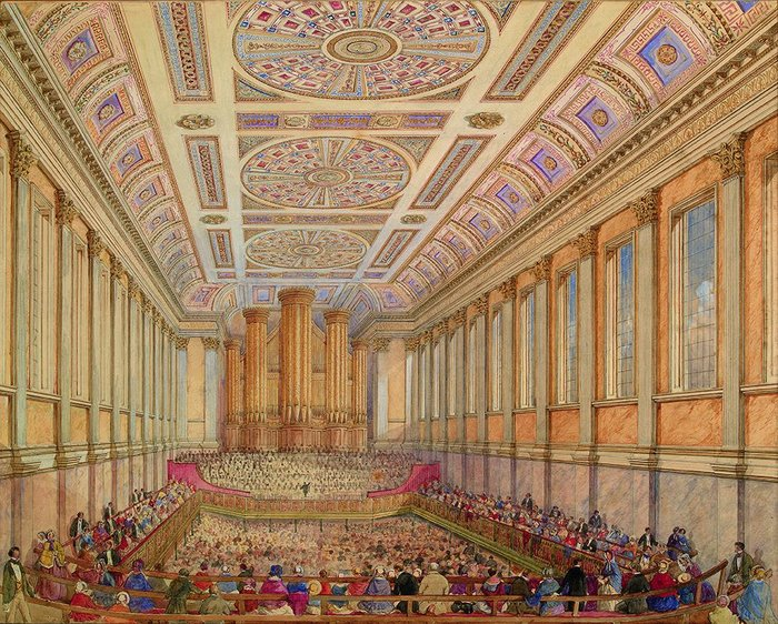 Meeting inside Birmingham town hall, c.1860, artist unknown.