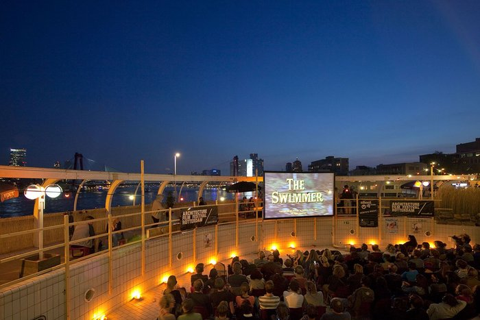 Rooftop screening at Tropicana, a former 1980s swimming and leisure centre in Rotterdam.