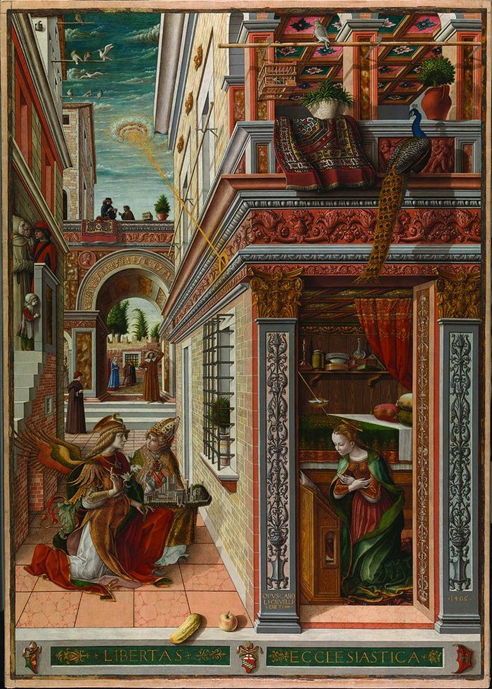 Carlo Crivelli's Annunciation: almost deliberately unlovely.