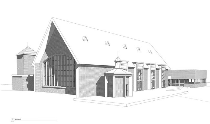 The REVIT model for this 1950s building and later extension – being worked on by Feilden Mawson – was constructed from 2D survey, historic drawings and photographs.