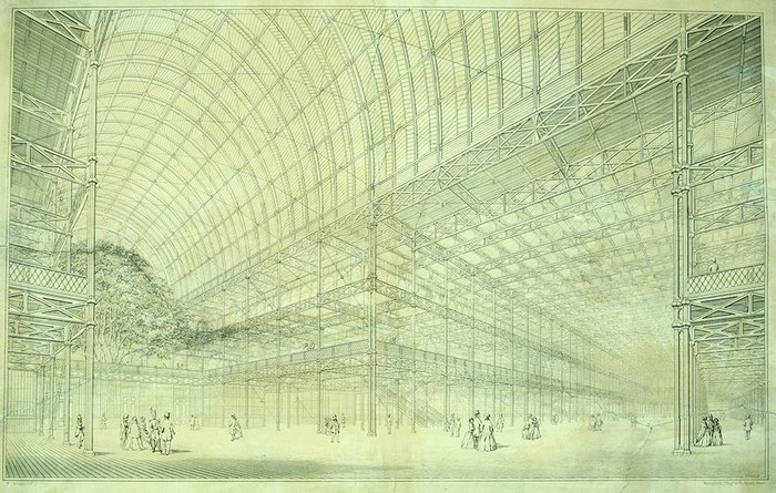 The Victorian inspiration behind much high-tech: Paxton and Fox's Crystal Palace, 1851.