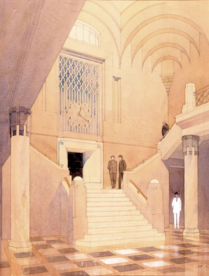 Interior of Port Offices Basra, Iraq. Drawn by J M Wilson. Signed and dated '30.