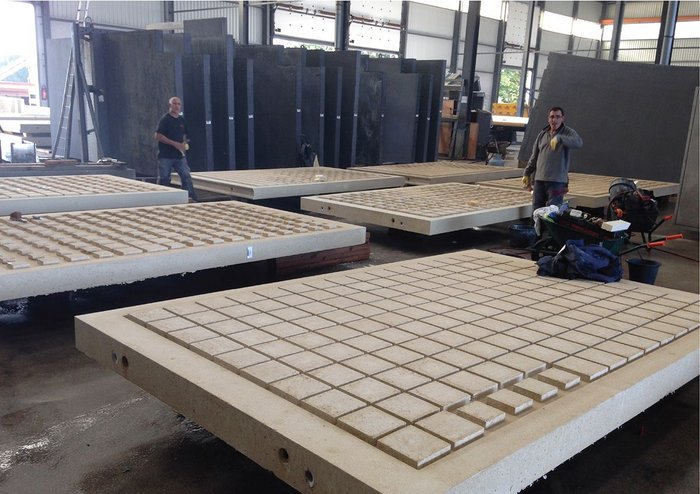 Artist Peter Randall-Page's precast concrete panels curing at Decomo's factory in Belgium.