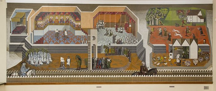 Edward Bawden, section of Canterbury Tales murals, 1957, still visible in Morley College refectory