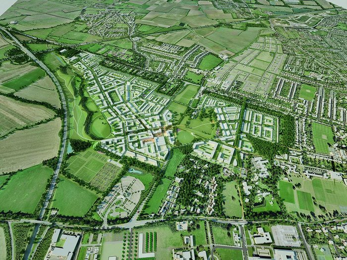 3D visualisation of the North West Cambridge masterplan, looking north.