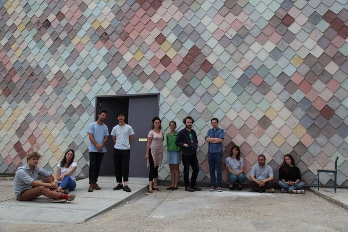 Assemble at its self-built Yardhouse in Hackney Wick, complete with coloured concrete shingles made on site.