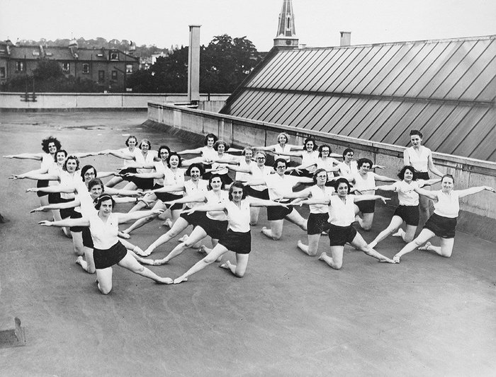Keep fit class on the roof of the Pioneer Health Centre, Peckham